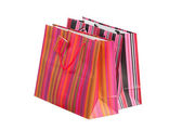 Two striped paper bags for shopping, isolated — Stock Photo