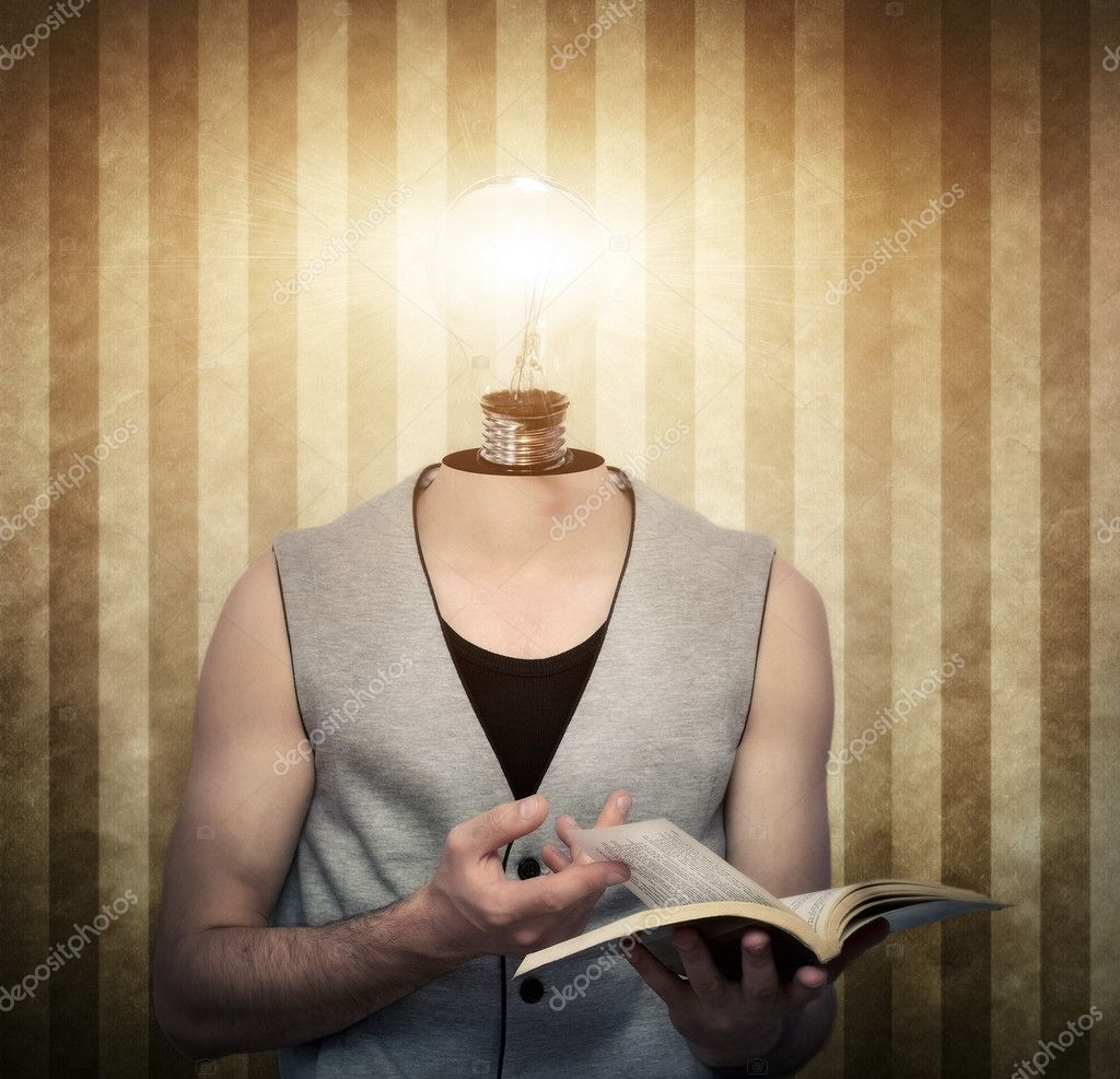 Young male reading a book with a light bulb  instead of head — Stock Photo #6430707