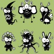 Cartoon monsters, goblins, ghosts, aliens - Stock Vector