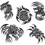 Wild animals tattoo — Stock Vector