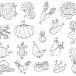 Doodle fruits, vegetables — Stock Vector