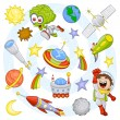 Cartoon outer space set — Imagen vectorial
