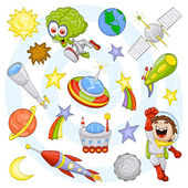 Cartoon outer space set — Stock Vector