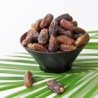 Plate full of Dates Fruit isolated on white Background — Stock Photo