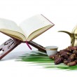 Thge Holy Quran with Dates Fruit and Arabic Coffee Pot — Stock Photo