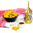 Stock Photo: Arabic Coffee with date fruit