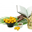 The Holy Quran and Arabic Coffee with date fruit — Stock Photo #6128502
