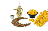 Arabic Coffee with date fruit — Stock Photo