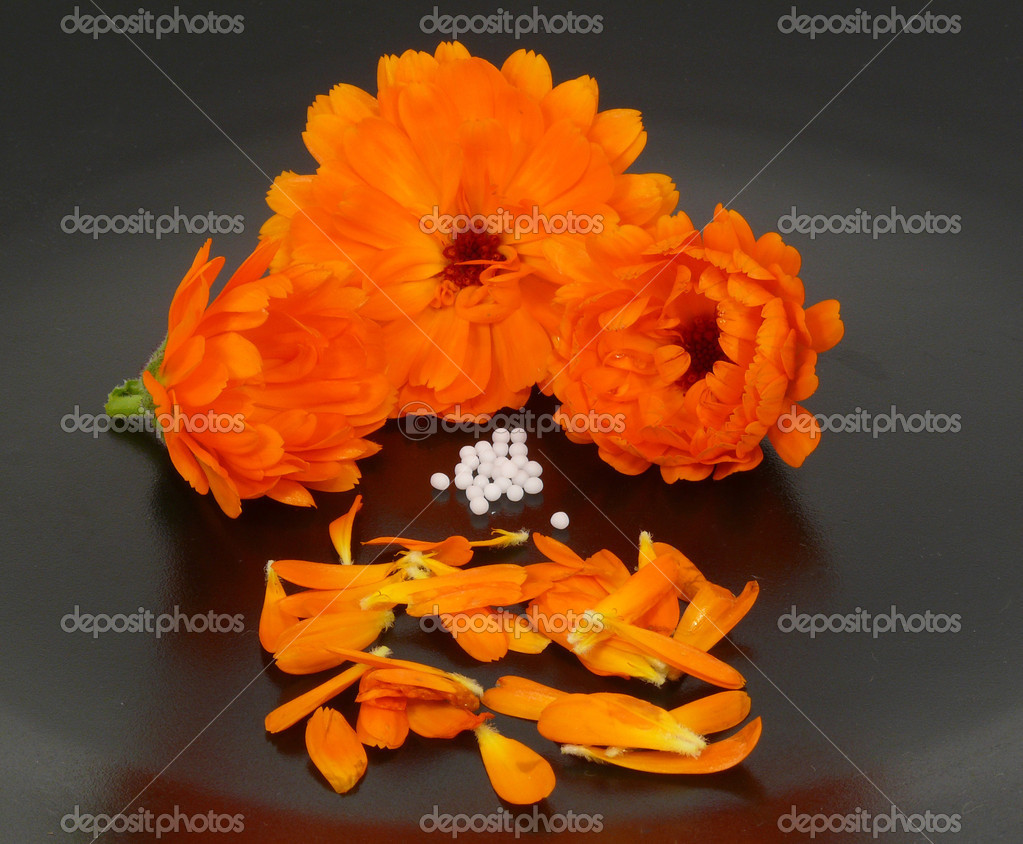 Globules and marigold — Stock Photo #6571742