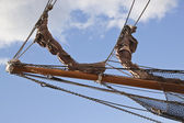 Ships bow with rigging and nets — Stock Photo