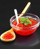 Caviar of sturgeon fish species - the red granular — Stock Photo