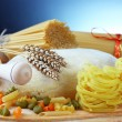 Pasta on the table and ingredients from vegetables — Stock Photo #5633649