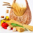 Pasta on the table and ingredients from vegetables — Stock Photo #5635226