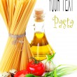 Pasta on  the table and ingredients from vegetables - Stock Photo
