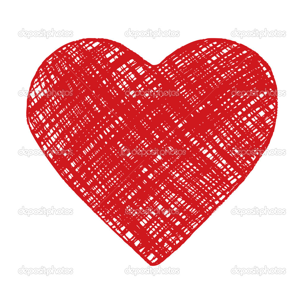 Hand drawing red heart on white. Vector image. — Stock Vector #5998721