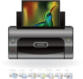 LaserJet Printer & Options Icons — Stock Vector