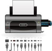 LaserJet Printer, Ports & Cables — Stock Vector
