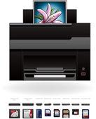 Office InkJet Printer/Photocopier — Stock Vector