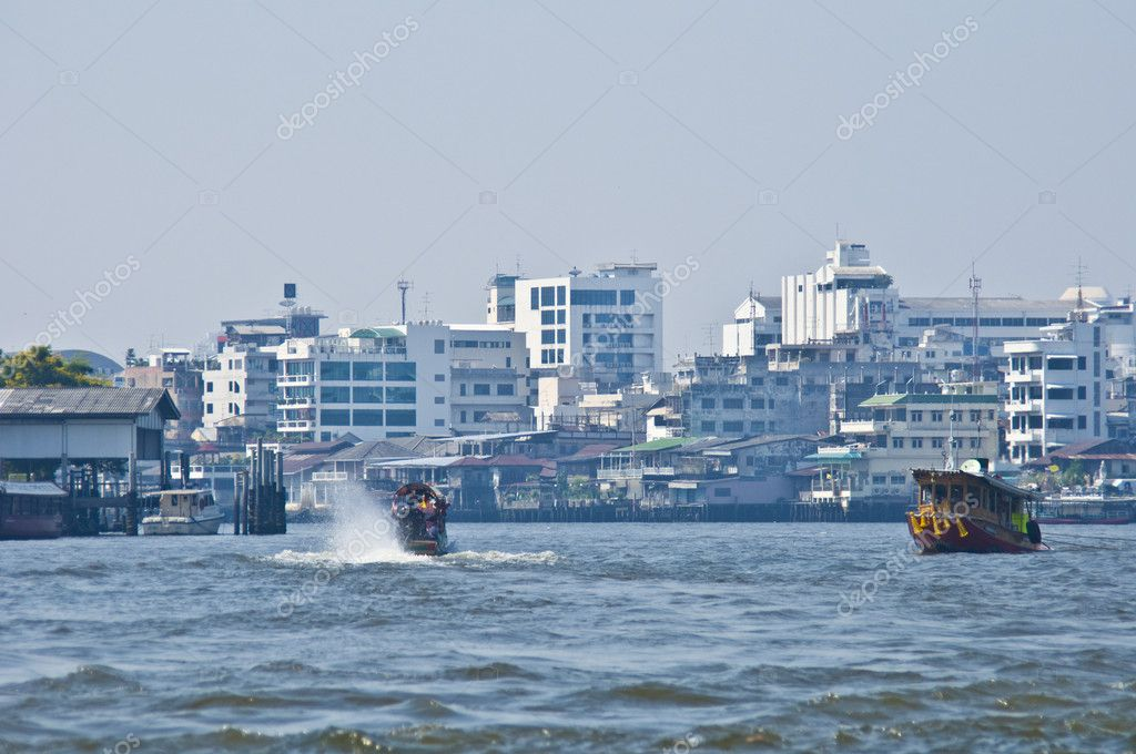 Bangkok and its river Menam Chao Phraya  Stock Photo #5865742