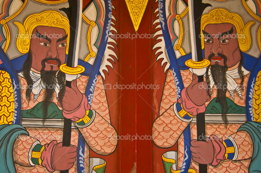 Demons guarding the entrance to a temple — Stock Photo #5865757