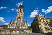 Salvatorkirche and Townhall in Duisburg — Stock Photo