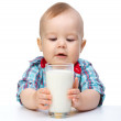 Cute little boy is holding big glass of milk — Stock Photo #5414421