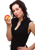 Young attractive woman with red apple — Stock Photo