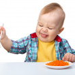 Little boy refuses to eat — Stock Photo