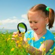 Royalty-Free Stock Photo: Little girl examining flowers using magnifier