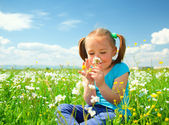 Little girl is smelling flowers on green meadow — Stock Photo