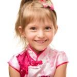 ragazza carina in abito rosa — Foto Stock