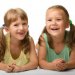 Stock Photo: Two little girls are playing