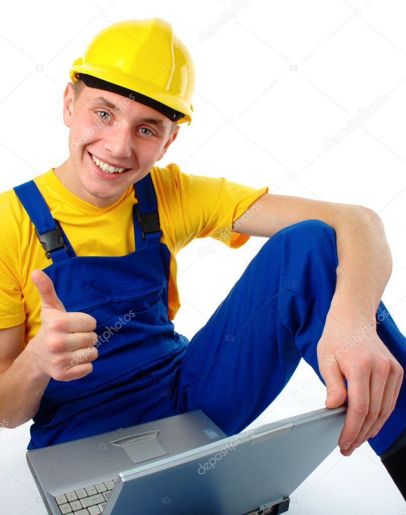 young construction worker showing good sign stock photo young construction worker showing good sign stock photo 6290051