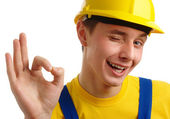 Worker showing OK sign — Stock Photo