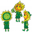 Funny stylized sunflowers in the green — Stock Vector