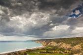 Dark sky over coastline — Stock Photo