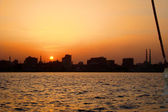 Sunset on the nile river — Stock Photo