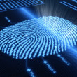 Fingerprint on pixellated screen - Stock Photo