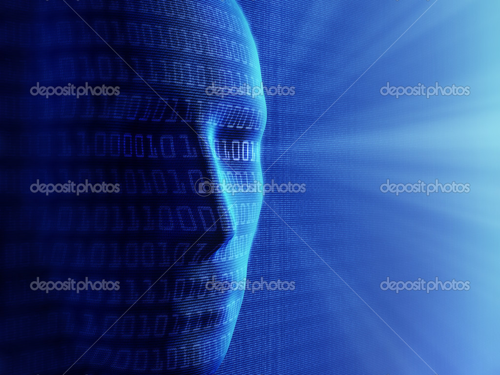 Conceptual background- Artificial intelligence / humans and cyber-business (detailed with millions of small binary code) — Stock Photo #6283301