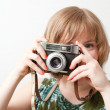 Woman with a vintage camera — Stock Photo #5914781