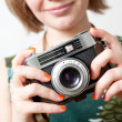 Woman with a vintage camera — Stock Photo #5914784