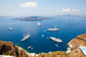 Cruise ships in Santorini, Greece — Stock Photo