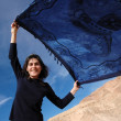 Girl with a blue shawl. — Stock Photo