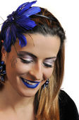 Piękna kobieta z doskonały makijaż — Zdjęcie stockowe