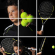 Tennis boy isolated in black — Stock Photo