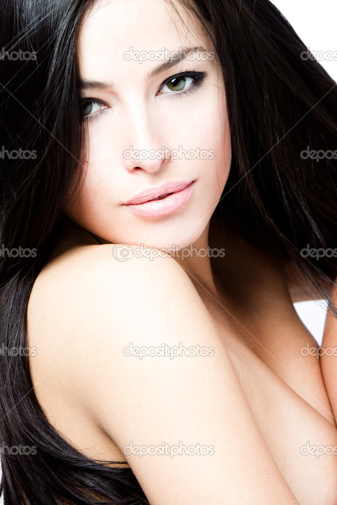Young black hair woman beauty portrait, studio shot  Stock Photo #5471855