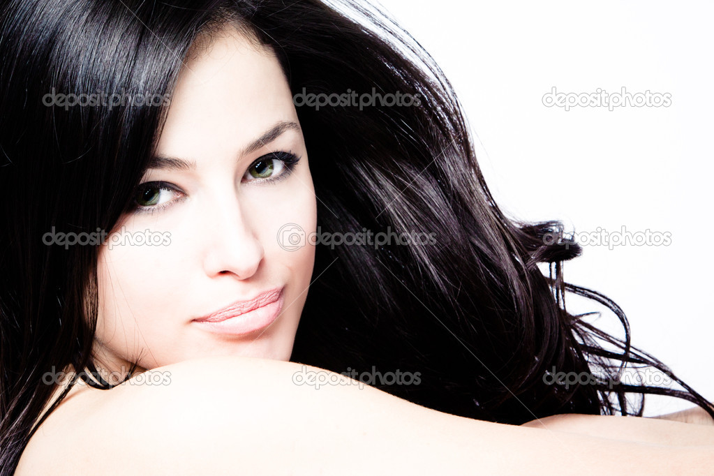 Young black hair woman beauty portrait, studio shot — Stok fotoğraf #5471979