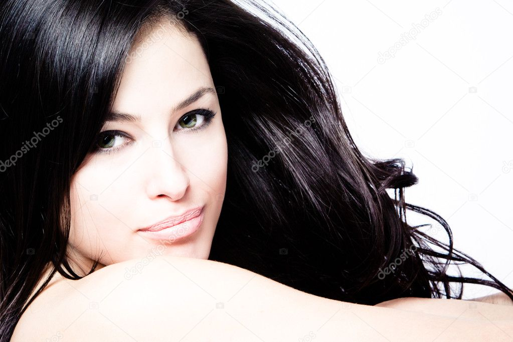 Young black hair woman beauty portrait, studio shot — Стоковая фотография #5471979