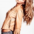 Blond in leather jacket — Stock Photo #5828028