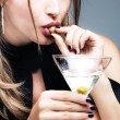 Martini and olive — Stock Photo